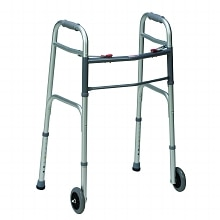 Two-Button Release Aluminum Folding Walker, Silver