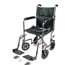 Aluminum Transport Chair 17 inch Silver