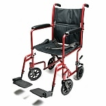 Everest & Jennings Aluminum Transport Chair 17 inch Red