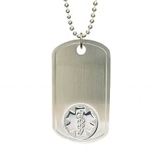 American Medical ID Stainless Steel Dog Tag 28-inch Embossed