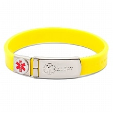 Thick Rubber Medical Bracelet, Yellow