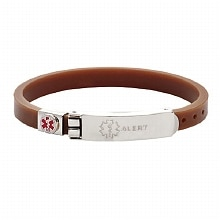 Hope Paige Thin Rubber Medical Bracelet Brown
