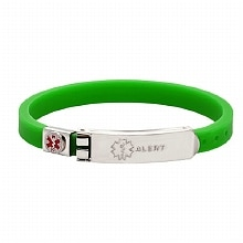 Thin Rubber Medical Bracelet, Green