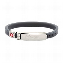 Hope Paige Thin Rubber Medical Bracelet Gray