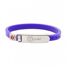 Hope Paige Thin Rubber Medical Bracelet Purple