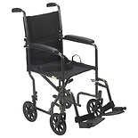 Drive Medical Lightweight Transport Wheelchair with Swing-away Footrest-19-inch Silver Vein