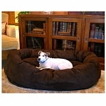 Majestic Pet Products Bagel Dog Pet Bed 52 inch Chocolate Suede