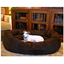 Bagel Dog Pet Bed 40 inch, Chocolate Suede