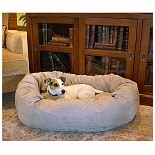 Majestic Pet Products Bagel Dog Pet Bed 32 inch Stone Suede