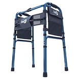 Hugo Adjustable Folding Walker with 5 Inch Wheels and Plastic Glides Blue