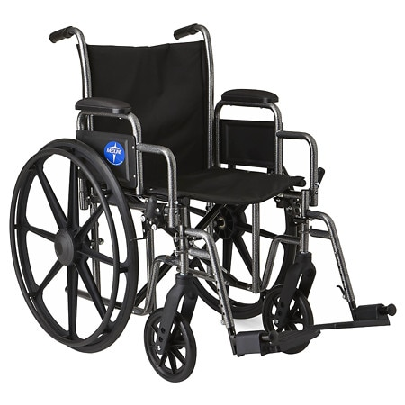 Medline Steel Wheelchair with Swingaway Footrests Silver