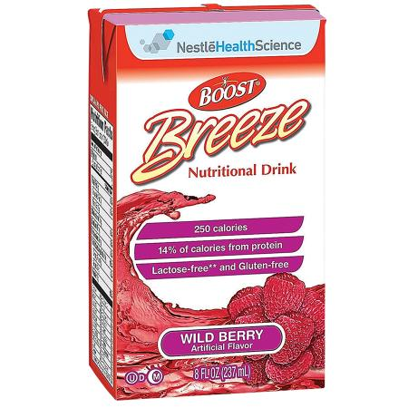 Resource Breeze Fruit Flavored Clear Nutritional Drink Wild Berry,8 oz Cartons, 27 pk