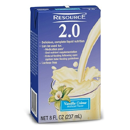 Resource 2.0 High Calorie High Protein Nutrition Drink Vanilla,8 oz Bottles