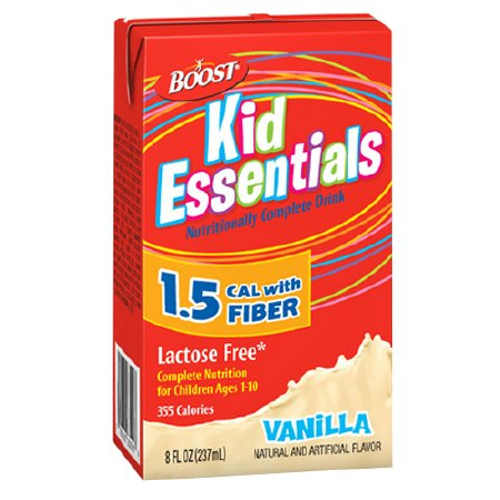 Boost Kid Essentials 1.5 Cal Medical Nutritional Drink with Fiber Vanilla,8 oz Cartons, 27 pk