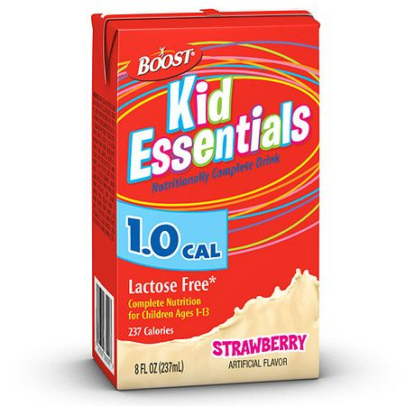Boost Kid Essentials 1.0 Cal Medical Nutrition Drink Strawberry,8 oz Cartons, 27 pk