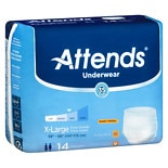 Attends Underwear Extra Moderate to Heavy Absorbency, 4 Pack Extra Large White