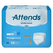 Attends Underwear Super Plus Maximum Absorbency Extra Large 58 inch - 68 inch White