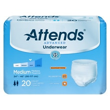 Attends Underwear Super Plus Maximum Absorbency Medium 34 inch - 44 inch White
