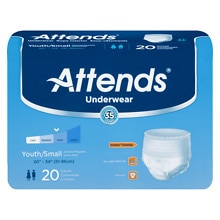 Attends Underwear Super Plus Maximum Absorbency Youth Small 20 inch - 34 inch White