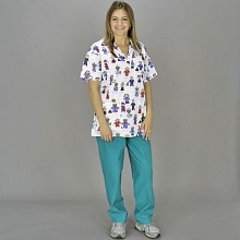 Medline Scrubs Ladies Slant Pocket Pants Peacock