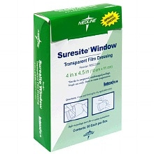 Medline Suresite Window Transparent Film Dressing 4x4.5
