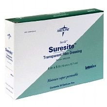 Medline Suresite Transparent Film Dressing 4 x 5 inch