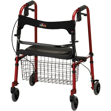 Nova Cruiser De-Light Folding Rolling Walker Red