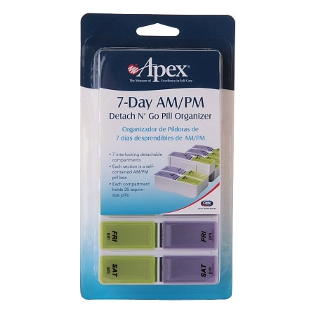 Apex 7-Day AM/PM Detach N' Go Pill Organizer Purple & Green