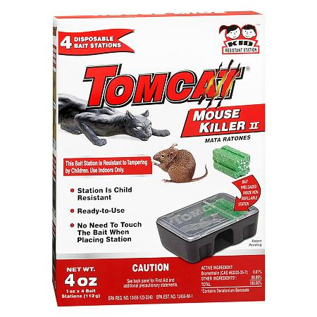 Tomcat Mouse Killer II Bait Stations 4 Pack Disposable