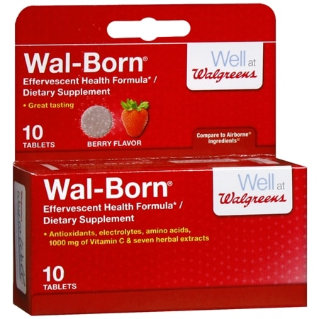 Walgreens Wal-Born Effervescent Health Formula Dietary Supplement Tablets Berry