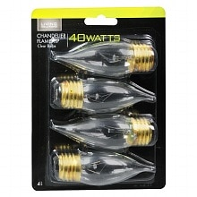 Living Solutions Light Bulbs Clear 40 Watt Chandelier Flame Tip