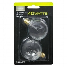Light Bulbs Clear 40 Watt Decorative Globes, G16-1/2