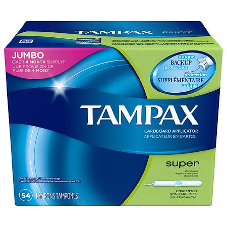 Tampax Tampons with Anti-Slip Grip Cardboard Applicator Super