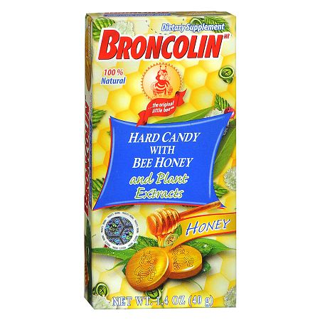 Broncolin Hard Candy with Bee Honey Dietary Supplement
