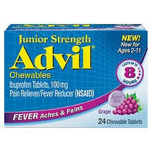 Advil Junior Strength Fever Reducer/Pain Reliever Chewable Tablets Grape Grape Flavored