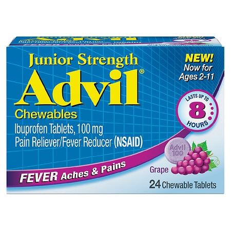 Advil Junior Strength Fever Reducer/Pain Reliever Chewable Tablets Grape
