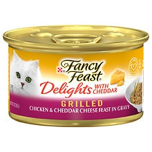 Fancy Feast Delights Gourmet Cat Food, Grilled Chicken & Cheddar Cheese Feast in Gravy