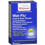 Walgreens Wal-Flu Cold & Sore Throat Powder Packets Lemon Flavor