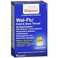 Walgreens Wal-Flu Cold & Sore Throat Powder Packets Lemon