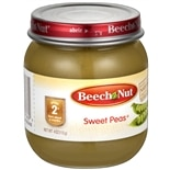 Beech Nut Stage 2 Veggie Baby Food Peas