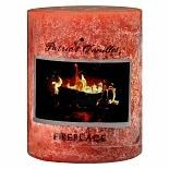 Patriot Candles Fireplace 3 x 4 Texturized Pillar CandleFireplace Orange