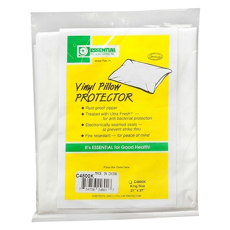 "Essential Medical King Size Vinyl Pillow Protector 21"" x 37"""