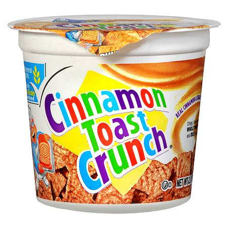 General Mills Cinnamon Toast Crunch Crispy, Sweetened Whole Wheat and Rice Cereal Cup