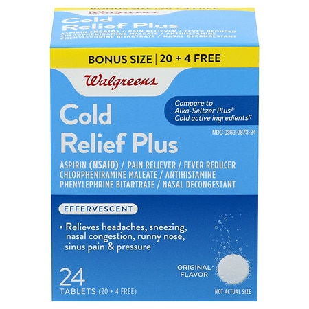 Walgreens Effervescent Cold Relief Plus Tablets Original Flavor