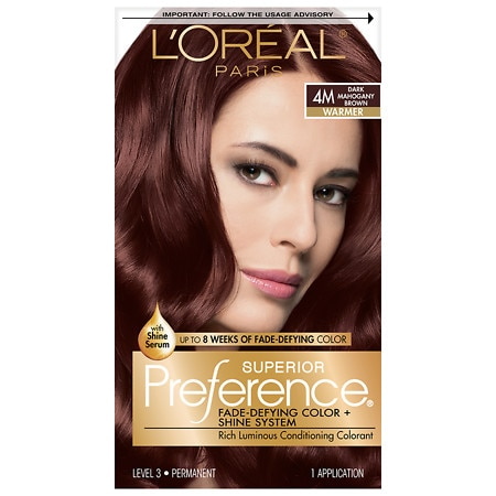 L'Oreal Paris Preference Fade Defying Color & Shine System, Permanent Dark Mahogany Brown 4M