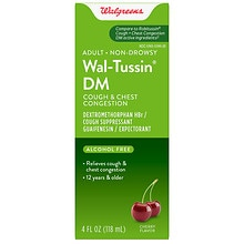 Wal-Tussin Adult Cough & Chest Congestion DM Liquid, Cherry Flavor