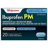 Walgreens Ibuprofen PM Coated Caplets Capsule-Shaped Tablets