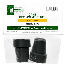 Essential Medical Cane Replacement Tips 7/8 inch Gray