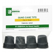 Essential Medical Quad Cane Tips 1/2 inch Gray