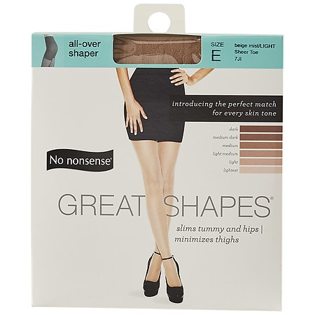 No Nonsense Great Shapes Body-Shaping Pantyhose Sheer Toe, Size E Beige Mist